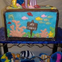 Aquarium Cake this is my version of an aquarium I did for my granddaughter. The cake is 2 9x12 cakes on top of 2 9x12 pieces of styrofoam. the cake is...
