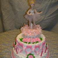 "Ballerina Cake Bottom is a 1 layer 10"" round cake , top is a 2 layer 8""round cake. Iced in Buttercream icing , bows are molded candy."