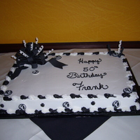 Black And White 50Th Birthday Sheet cake for 50th birthday. BC with fondant bow and decorations