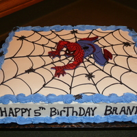 Spiderman Birthday Cake  Birthday cake for my 5 yr old nephew who loves spiderman. Thank you to evaruggiero with her instruction on the fondant spiderman. Cake...