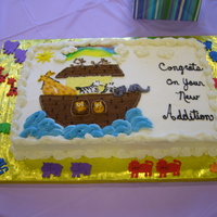 Noah's Arc This was for a Noah's Arc theme for a baby shower. Yellow butter cake with buttercream. All designs buttercream. Foam animals around...