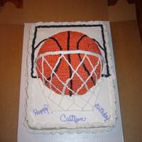 Basketball Birthday Cake   Basketball birthday cake for my nice. 9 x 13 tripple chocolate..the basketball is butter pecan and icing all BC..