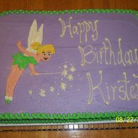 Tinkerbell Yellow cake with buttercream frosting. Tinkerbell hand drawn in buttercream. TFL.