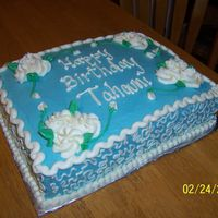 Flowers   Marble cake with buttercream icing and whipped filling. TFL.