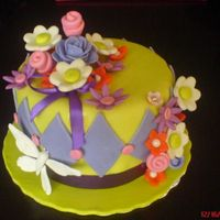 Winter's Spring this is a for my husband's dialysis patient who is a very special lady.she did not know that i made a cake for her...all fondant decor...