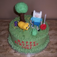 "Adventure Time Birthday. Chocolate cake with vanilla BC. Special request from my nephew these characters from ""Adventure Time."" All I can say is........."