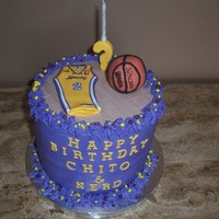 Laker Fan's Birthday! Chocolate cake with raspberry BC. Laker fan loves Derek Fisher (2). So this is what I came up with. Thanks for looking!