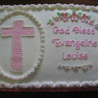 Baby Girl Christening Cake   Iced in buttercream, with MMF cross and flowers