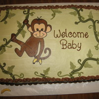 Monkey Baby Shower Frozen buttercream transfer, with fondant accents