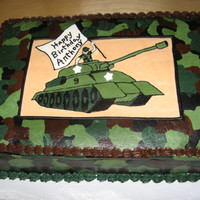 Army Tank Birthday   Camo cake for a 9 year old boy - all buttercream. Tank is a frozen buttercream transfer.