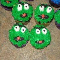 Oscar The Grouch Cupcakes iced in buttercream with marshmallow eyes