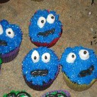 Cookie Monster Cupcakes Iced in buttercream with marshmallow eyes!!!