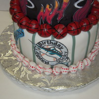 Dolphins, Marlins And Miami Heat Theme Cake