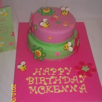 Pink & Green W/beees All fondant, with disco dust on flowers and trim around bottom of cakes.Made for a little girl's 6th birthday. Made to coordinate with...