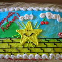 Super Mario Cake   First cake. white 2 lay 9X13. buttercream frosting. mmmm!