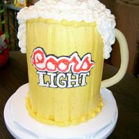 Mug Of Coors Light  This cake was ordered for a girls 21st birthday. They heard about the St. Patrick's day green mug of beer, and wanted a coors light...