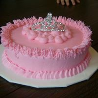 "Tiara Cake My best friend just LOVES my frosting, so this is actually more frosting than cake. It is a 6"" round, but only about 1/2 inch thick,..."