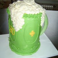 Green Beer Green mug of beer I made for my friend's 30th birthday (on St. Patrick's Day). Four 6-inch rounds stacked on top of each other.