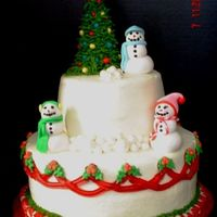 Snowman Christmas Cake The picture isn't very good, sorry. Made the cake for a client's office luncheon. Strawberry Cocktail Cake with Cream Cheese...
