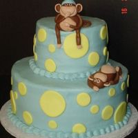 "Monkey Baby Shower I have to Thank ""TamiAZ"" for the inspiration for this cake. This cake was made for an expectant Mom who loves monkeys. 2 tiers of..."