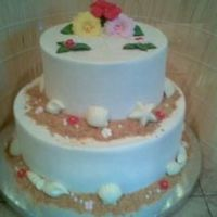 Hawaiian Theme Wedding Cake This is my very first wedding cake!!!!! All BC with chocolate shells and store bought flowers. The sand is graham crackers. THANK YOU to...