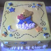 Winnie The Pooh Babyshower this is an 8' chocolate raspberry cake with raspberry mousse filling. Iced in BC with MMF accents and Chocolate Pooh and Piglet....