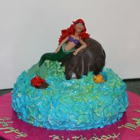 Little Mermaid Cake Yellow cake w/ pineapple filling.Buttercream frosting for water and all accents are MMF. For my nieces 2nd birthday. I wasn't too...