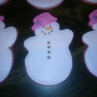 Pink Snowman its hard to tell, but the cookies are pink, with light pink royal icing to flood, light brown for buttons on snowman. made these for my...