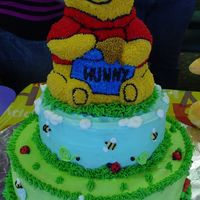 Winnie The Pooh I made this cake for my nephews 1st Birthday party. All buttercream cake with royal icing flowers.