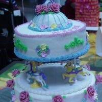 Megan's Carousel Coverec in BC, fondant roses and royal icing flowers