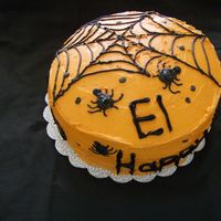 Happy Booday Cake My nephew wanted a Halloween cake for his bday. I used Vanilla buttercream. I wanted to acheive a spooky look for the cake but, the BC took...