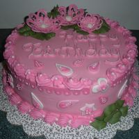 Pretty In Pink iced in buttercream, fondant decorations. Thanks for looking!