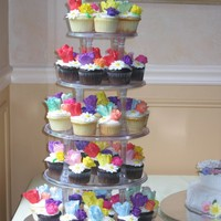Cupcake Tree With Flowers the cupcakes are vanilla, chocolate and cheesecake. they're iced with buttercream and the flowers are made of fondant and cupaste....