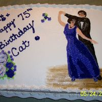 Birthday Cake All icing is buttercream, the ballroom dancers are made with starsand smoothed with a brush. The dance floor was painted on with a brush,...