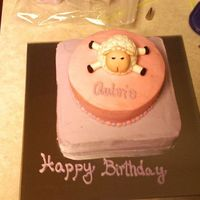 "1St Birthday I made this cake for my neice's first birthday. I posted the little sheep yesterday, and this is the cake that he goes on. 8""..."