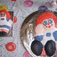 Raggedy Ann Raggedy ann smash cake & a large cake made with an aluminum wilton cake pan