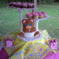 Diaper Bear baby bear cake and cupcakes I made for my neice's baby shower. She was having a girl.
