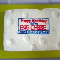 The Big Cheese! This is a cake idea from an old Better Homes and Gardens book. Messed up on the lettering but that's what happens at 3:00 in the...