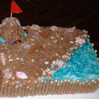 Beach-Themed Birthday Cake This is a hummingbird cake constructed with two 11x17 layers and large and regular cupcakes as the castle. The cake is frosted with Swiss...