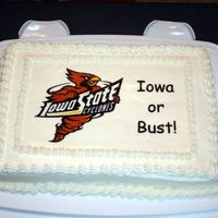 Iowa Or Bust This was a practice cake for some friends who were moving to Iowa. He was going to work for Iowa state and was very excited.