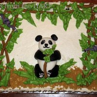 Panda !00% inspired by tripletmom's panda cake on here (although her cake is way more beautiful!)