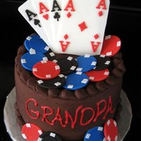 Poker Cake Chocolate stout cake with chocolate truffle filling and chocolate buttercream - gumpaste cards and chips.