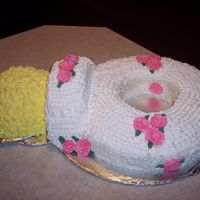 Pacifier This cake was made from a 14in. round cake pan with the middle cut out, 10in. round cake pan cut in half to make the center part, and a...