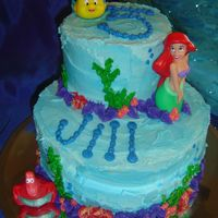 Jill's Ariel Cake Stacked construction, all buttercream. Ariel, Flounder, and Sebastian are from the Disney Store.