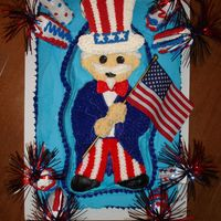 Uncle Sam This was a combination of a few ideas. I used the little heroes pan from Wilton to do Uncle Sam. The fireworks were done with jumbo...