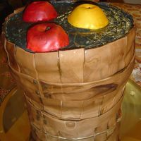 Bobbing For Apples A basket or barrell full of water and apples! Halloween fun! Cake is a pumpkin spice cake with cream cheese icing. The basket is made of...