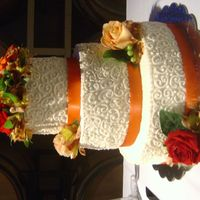 Melodye's Cake All buttercream with real flowers and ribbon