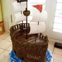 Pirate Ship Cake 2 Fondant and royal icing decorations. I made the sails and flags out of gumpaste.