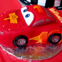 Lightning Mcqueen Used vanilla pound cake...my first sculpted cake!