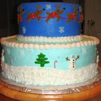 Christmas Themed Cake Two tiers, 4 layers each. All b/c